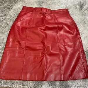 Vintage red leather high waisted skirt
